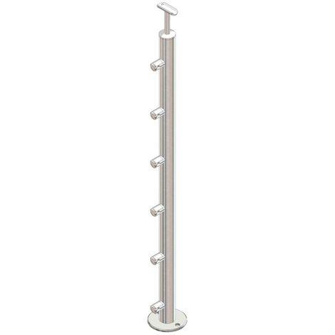 Poteau rond pose au sol, Inox 304, avec 5 supports pour barre Diam 12mm
