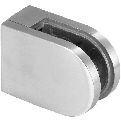 Pince Verre inox M08, pour Verre 10-10,76mm, 63x 45mm, Inox  brossé, fixation sur plat AISI 316