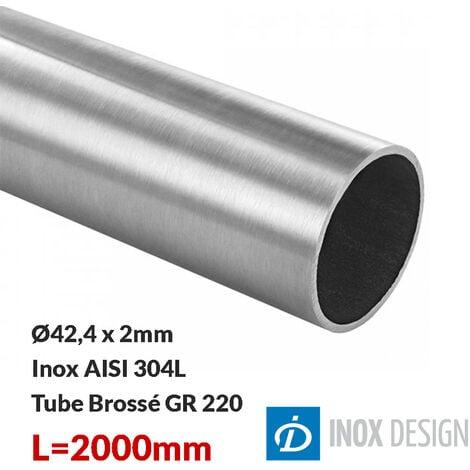 Tube 42,4x2mm, inox 304, Longueur 2000mm