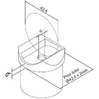 Raccord de jonction poteau-Tube pour tube Diam 42,4 x 2mm inox brossé AISI 316