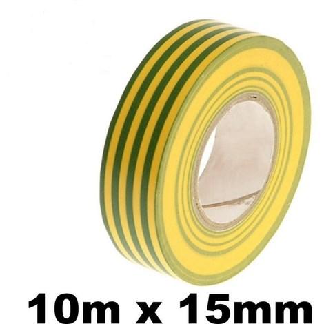 10 rouleaux isolants Scotchs pour électricien - Rubans de 10 mètres - VERT & JAUNE