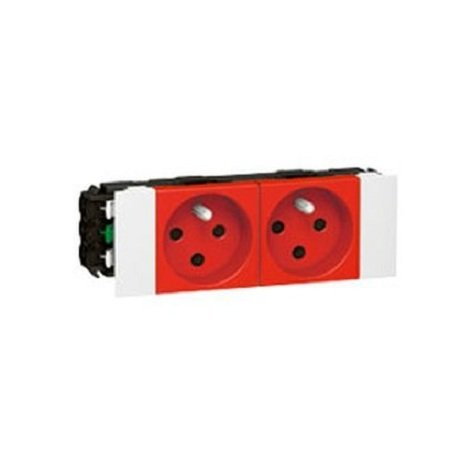 Legrand 077122 - Prise pour goulotte clippage direct Prog Mosaic - 2x2P+T détromp - 4 mod - rouge