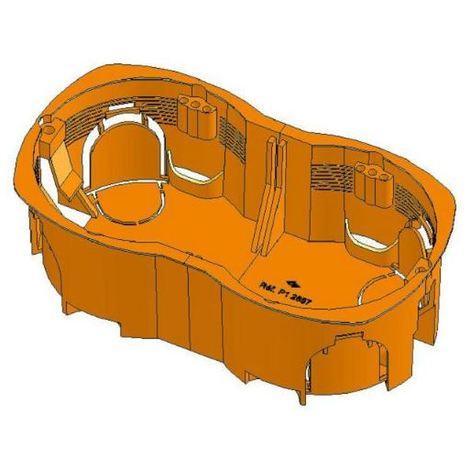 Sib P12857 - Boite cloison sèche double poste - entraxe 57mm - prof. 40mm - Orange