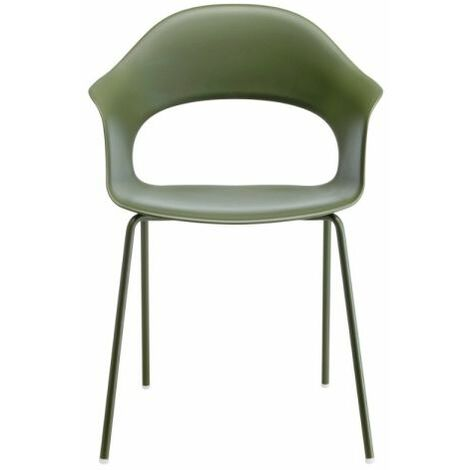 Poltroncina di design, in plastica riciclata, impilabile, anche per giardino, Verde oliva