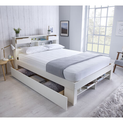 Fabio Wooden Bed White Double