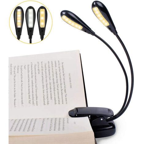 LED Lampe de lecture de livre soins oculaires rechargeable USB à clip flexible