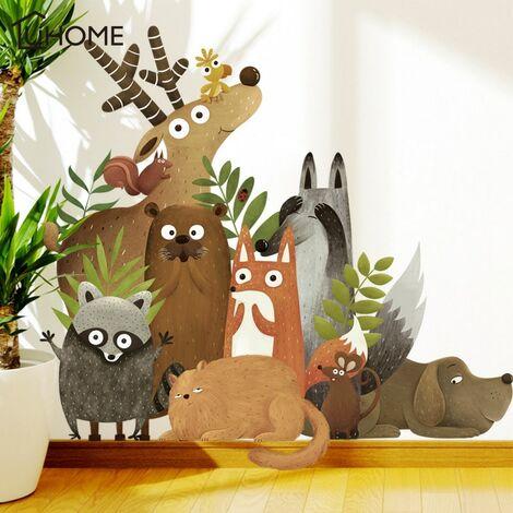 Animaux de la forêt wapiti renard lapin Stickers muraux pour chambre d'enfants enfants sticker mural pépinière chambre décor affiche Art Mural