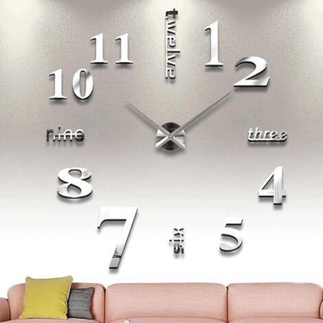 Bricolage mural horloge numérique unique moderne design décoratif, ruban