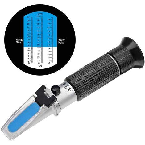Réfractomètre Brix avec ATC, hydromètre Brix portable 0-32% Testeur de lecteur Brix portable pour mesurer la teneur en sucre dans les fruits, réfractomètre de saccharimètre