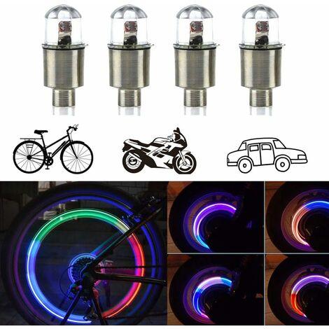 4Pack lumière de valve de roue de pneu de voiture, lumières de roue de vélo LED, lumières de bouchons de valve de roue imperméables (colorés)