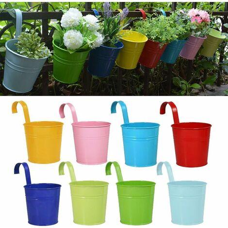 Pot de fleurs en fer/métal à suspendre Pour 8pots Balcon Jardin Mur Seau en métal à suspendre Support Cadeau Detachable Style