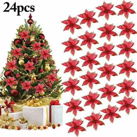 Decoration Noel Sapin, 24Pcs Ornement Sapin Noël Lot déco Noël Glitter Artificielles Fleurs de Noel pour la fête de Mariage Décorations de Noël