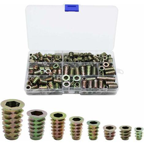 230 Pièces Alliage de Zinc Insert Fileté Hexagonale Écrous Inserts Fileté Insert Écrous Filetage Extérieur M4 M5 M6 M8 pour Kit d'outils d'écrou pour Meubles en Bois