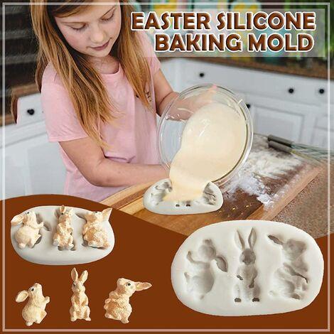 Cuisine & Maison Silicone Chocolat Cuisson Moule décoration de gâteau Lapin Lapin gâteau Moule Fondant en Silicone de Pâques DIY Moule à Chocolat époxy en Argile Souple