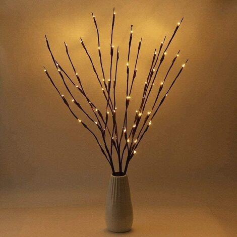 Branches éclairées 40 lumières LED arbre artificiel branches de saule lampe pour la maison de vacances fête décoration de noël décoration lot de 2