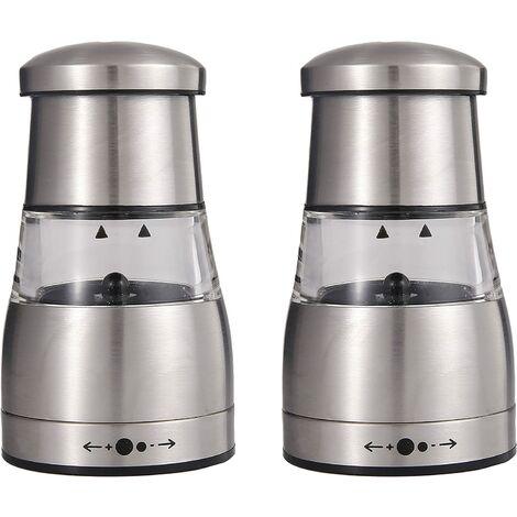 Moulin à poivre ou sel manuel et élégant avec réglage de la mouture, bonne prise en main, corps en acier inoxydable et réservoir grande capacité 2