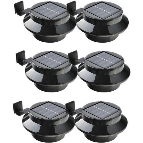 Lot de 6 lampes LED à énergie solaire pour gouttière, clôture, toit, gouttière, jardin, cour, mur, noir