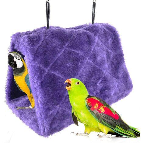 Perroquet Nid d'Oiseau Animal Nid d'hiver Hiver Chaud Hamac Cabane Pendaison de Peluche Suspendu Cage pour Parrot Perruche Calopsitte Amazones Cacatoès Canari Cage Jouet (M, Violet)