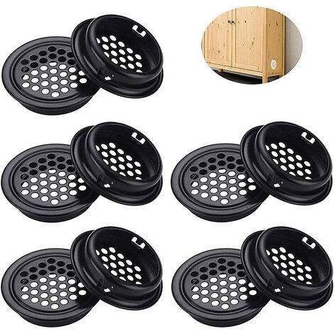 Grille de Ventilation inox Ronde Grille ventilation inoxydable Grille de Ventilation Inox Ronde 10 Pièces Grille d'aération Noir pour Armoire Placard Ventilation pour Cuisine Meubles