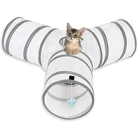 Tunnel Chat Jeu Chat,Tunnel Lapin Pet Tunnel 3 Way Crinkle Tunnel Tube Pliable Jouet pour Les Chats Lapins, Chiens, Animaux de Compagnie