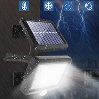 Lampes solaires pour l'extérieur, lampe solaire 56 LED à l'extérieur avec détecteur de mouvement, étanche IP65, angle d'éclairage 120 °, applique solaire pour jardin avec câble