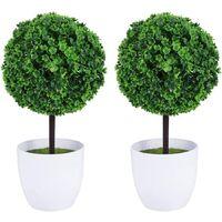 Lot de 2 petits pots de fleurs artificiels en forme de topiary, en céramique blanche