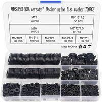 700Pcs Rondelle Nylon Noir Haute Qualité Spacer Assortiment Kit (M2 M2.5 M3 M4 M5 M6 M8 M10 M12) -Avec Boite