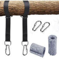 Kit de harnais de suspension de balançoire pour hamac avec 2 mousquetons et anneaux en D robustes, peut contenir jusqu'à 550 kg avec sac de rangement, coussin de protection d'arbre