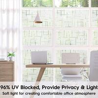Film de fenêtre givré sans colle, films de verre de confidentialité givrés pour fenêtres et portes, autocollant de fenêtre décoratif autostatique pour la protection UV de bureau à domicile (motif en croix 3D)