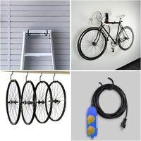 Lot de 6 crochets de rangement pour vélos robustes, grands crochets de garage en acier pour plafond de garage, outil de rangement mural pour vélos et sous-sol