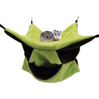 Hamac Rongeur Hamster Lit Suspendu Couchage Furet Nid Confortable avec 3 Couches de Labyrinthe Géométrique pour Petits Animaux Rat Hamster Écureuil pour Jouer et Dormir, Vert