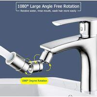 Aérateur de robinet pivotant à 1080 °, accessoire universel pour évier de robinet de filtre anti-éclaboussures, débit d'eau réglable à double fonction, pulvérisateur de robinet anti-éclaboussures avec adaptateur de filetage mâle, pour cuisine salle de bai