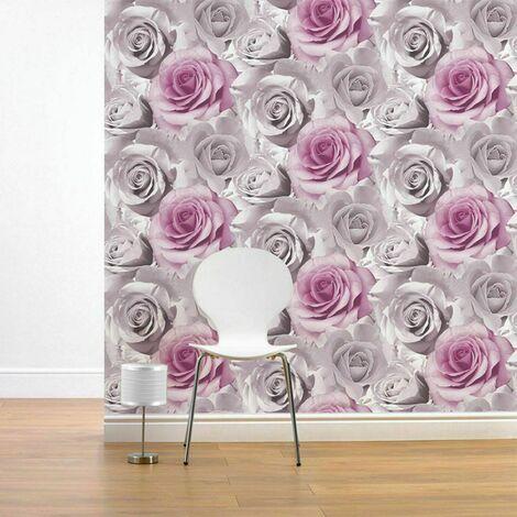 Muriva Madison Rose Floral Wallpaper Large Bloom Pink Flowers