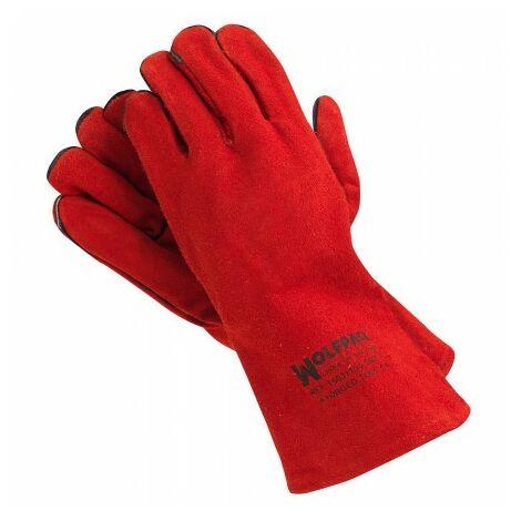 Gants de soudage dense rouge long