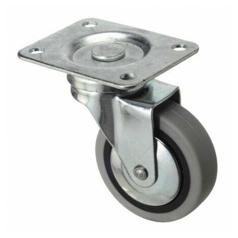 Roue industrielle caoutchouc gris plaque 40 mm.
