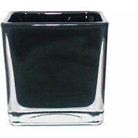 Jardinière cube en verre - 6x6x6x6cm noir