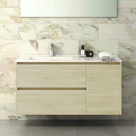 Conjunto TAGUS, Mueble de lavabo 120cm, espejo, aplique led y columna TAIGA
