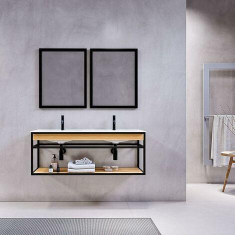 Mueble de Baño suspendido + Lavabo 120 cm PURE – Madera y Metal Negro