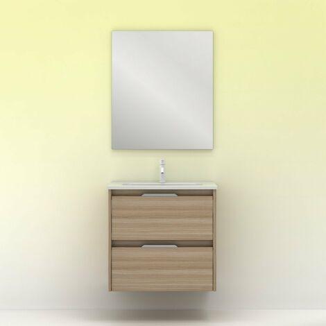 Mueble lavabo SUKI suspendido. Opción Blanco, Gris, Antracita, Fumé, Nogal. 2 y 4 cajones. Lavabo simple y doble. NOGAL ARENADO 60 cm