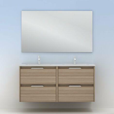 Mueble lavabo SUKI suspendido. Opción Blanco, Gris, Antracita, Fumé, Nogal. 2 y 4 cajones. Lavabo simple y doble. NOGAL ARENADO 120 cm