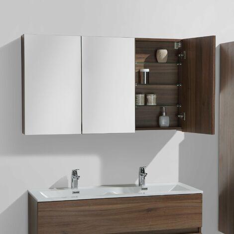 Armario espejo baño 120cm MONTADO SIENA NOGAL