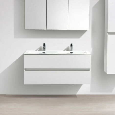 Mueble lavabo + lavabo 120cm MONTADO Lacado Blanco SIENA