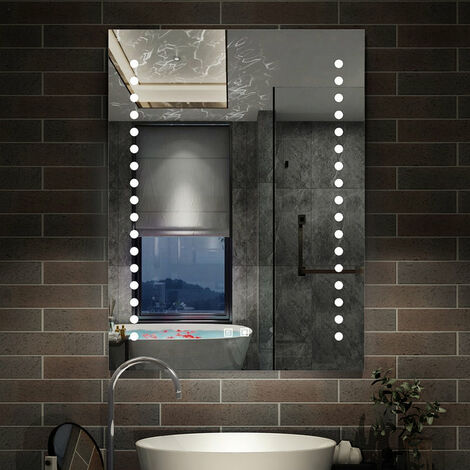 Miroir LED miroir de salle de bain Miroir lumineux 70x50cm anti-buée modéle de