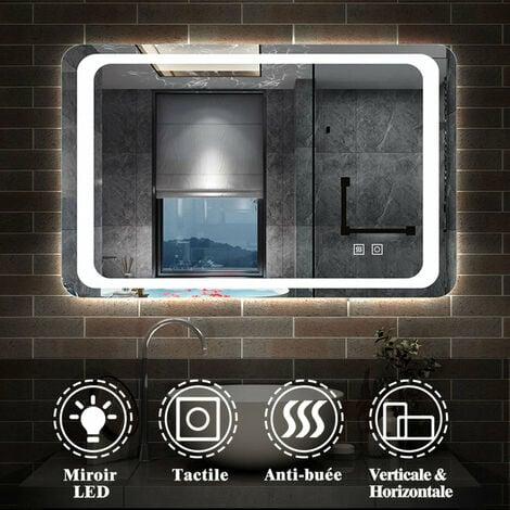 Miroir de salle de bain anti-buée 80x60cm miroir de salle de bain