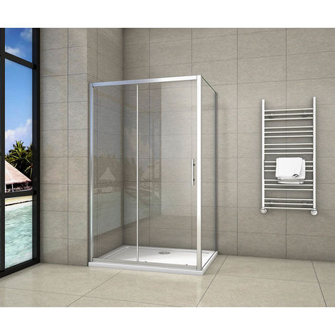 Cabine de douche 100x90x190cm porte de douche + paroi latérale