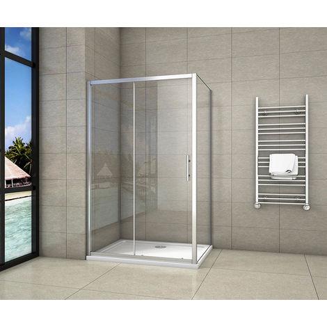 Cabine de douche 110x70x190cm porte de douche + paroi latérale