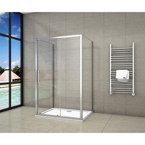 Cabine de douche en forme U 100x90x90x190cm une porte de douche coulissante + 2 parois latérales