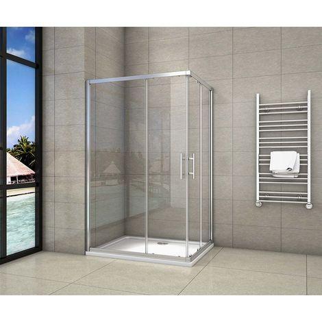 Cabine de douche 80x90x195cm en 6mm verre anticalcaire porte de douche coulissante l'accès d'angle