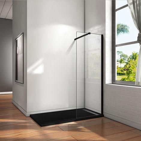 Paroi de douche 50x200cm en noire mat paroi à l'italienne en 8mm verre anticalcaire livré avec une barre de fixation extensible en noire mat