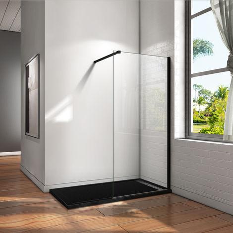 Paroi de douche 100x200cm en noire mat paroi à l'italienne en 8mm verre anticalcaire livré avec une barre de fixation extensible en noire mat